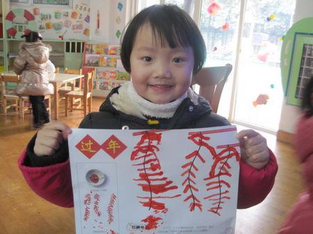 棉签画:串串鞭炮_转自幼儿园博客